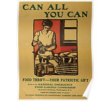 United States Department of Agriculture Poster 0092 Can All You Can Food Thrift Patriotic Gift Poster