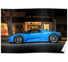 Electric Blue Porsche 918 Spyder Poster