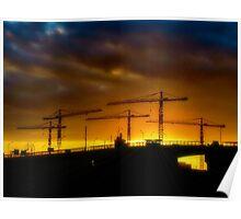 Construction Sunset Poster
