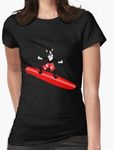 Boston Terrier Surfer Womens Fitted T-Shirt