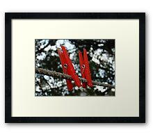 Red Pegs Framed Print
