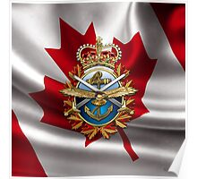 Canadian Forces Emblem over Waving Flag Poster