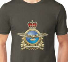 Royal Canadian Air Force Badge over Waving Flag Unisex T-Shirt