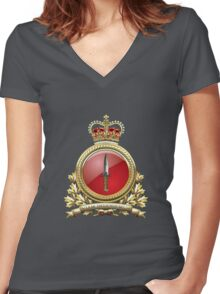 Canadian Special Operations Forces Command - CANSOFCOM Badge over Waving Flag Women's Fitted V-Neck T-Shirt