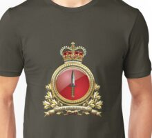 Canadian Special Operations Forces Command - CANSOFCOM Badge over Waving Flag Unisex T-Shirt