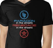 Mass Effect: Paragon in the Streets, Renegade in the Sheets - White Font Mens V-Neck T-Shirt