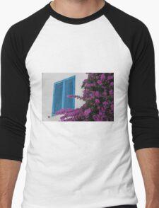Blue shutters and bougainvillea Men's Baseball ¾ T-Shirt