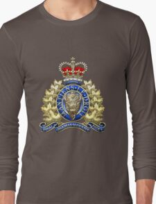 Royal Canadian Mounted Police - RCMP Badge over Waving Flag Long Sleeve T-Shirt
