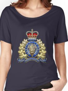 Royal Canadian Mounted Police - RCMP Badge over Waving Flag Women's Relaxed Fit T-Shirt
