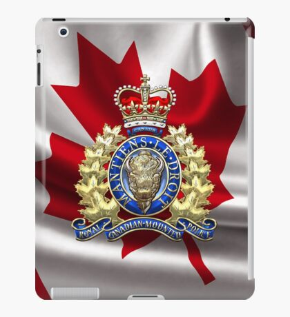 Royal Canadian Mounted Police - RCMP Badge over Waving Flag iPad Case/Skin