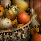 Autumn - Pumpkins in a basket by Mike  Savad