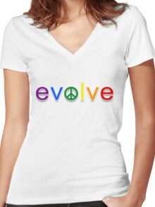 Evolve: Coexist in Peace Women's Fitted V-Neck T-Shirt