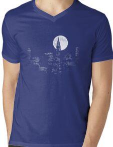 New York By Night Mens V-Neck T-Shirt