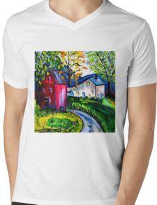 September Red Barn Landscape Mens V-Neck T-Shirt