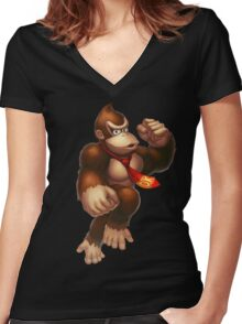 Donkey Kong Women's Fitted V-Neck T-Shirt