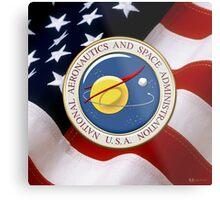 NASA Emblem over American Flag Metal Print