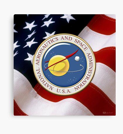 NASA Emblem over American Flag Canvas Print