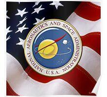 NASA Emblem over American Flag Poster