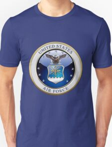 U.S. Air Force - USAF Emblem 3D over Flag T-Shirt