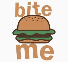 Bite me with cute hamburger Kids Tee