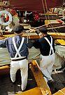 MVP77 Two fishermen at Zees boat Regatta, Ahrenshoop, Germany. by David A. L. Davies