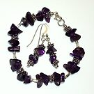Natural Amethyst and Sterling Silver Bracelet/Earrings by d2dzynes