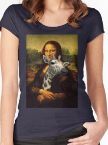 Mona Lisa Loves Giraffes Women's Fitted Scoop T-Shirt