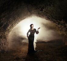 fantasy fairytale girl in cave earth by Liancary