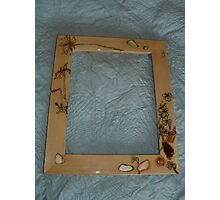 clover woodburned and seashell frame Photographic Print