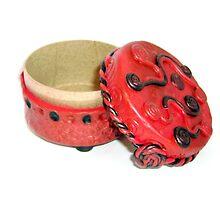Polymer Box - Red & Black Spirals (2) by d2dzynes
