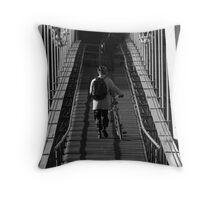 the lonely commuter Throw Pillow