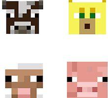 Minecraft animal faces by desuumbreon