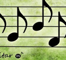 GUITAR - Words in Music Green Background - V-Note Creations Sticker