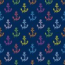 Colorful Nautical Boat Anchors Pattern by artonwear