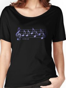 GUITAR - Words in Music - Purple -  V-Note Creations Women's Relaxed Fit T-Shirt