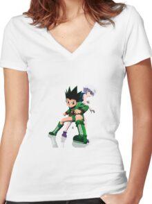 Gon and Killua Women's Fitted V-Neck T-Shirt