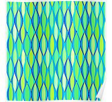 Mid-Century Ribbon Print - turquoise and lime Poster