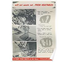 United States Department of Agriculture Poster 0294 Wilt Not Waste Not Fresh Vegetables Fight Food Waste Poster