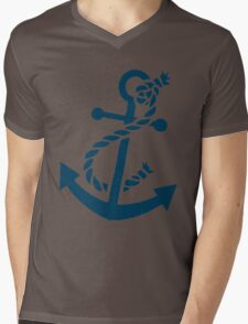 Navy Blue Nautical Boat Anchor Illustration Mens V-Neck T-Shirt