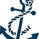 Navy Blue Nautical Boat Anchor Illustration by artonwear