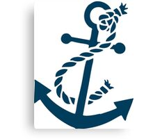 Navy Blue Nautical Boat Anchor Illustration Canvas Print