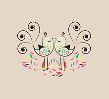 Cute Colorful Art Deco Love Birds Unisex T-Shirt
