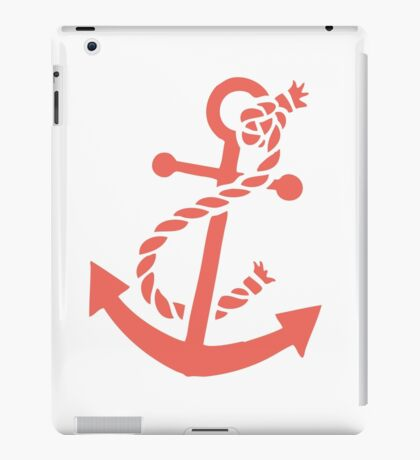Coral Red Nautical Boat Anchor Illustration iPad Case/Skin