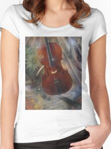 Strike a Chord with this Beautiful Musical Design Women's Fitted Scoop T-Shirt