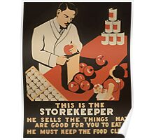 WPA United States Government Work Project Administration Poster 0897 This Storekeeper Sells Things Good For You Clean Food Poster