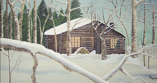 Country Christmas ~the full size oil painting by Barbara Applegate