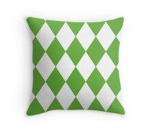 Grass Green and White Diamonds Throw Pillow
