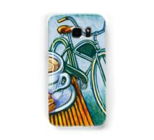 Green Electra Delivery Bicycle Coffee and biscotti Samsung Galaxy Case/Skin