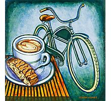 Green Electra Delivery Bicycle Coffee and biscotti Photographic Print