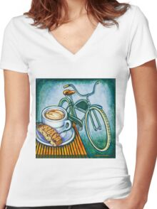 Green Electra Delivery Bicycle Coffee and biscotti Women's Fitted V-Neck T-Shirt